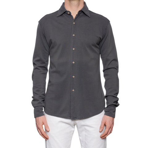 KITON Napoli Handmade Gray Cotton Pique Casual Shirt EU 50 NEW US M