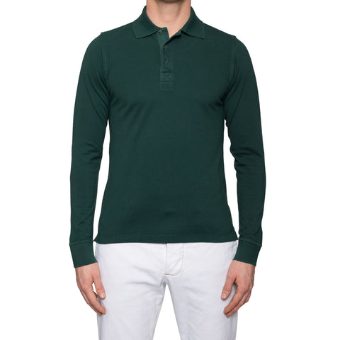 KITON Napoli Handmade Green Cotton Pique Long Sleeve Polo Shirt EU 48 NEW US S
