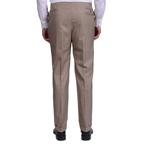 KITON Napoli Handmade Khaki Prince of Wales Wool DP Dress Pants EU 54 US 38