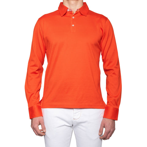 KITON Napoli Orange Cotton Long Sleeve Polo Shirt Sweater EU 52 NEW US L