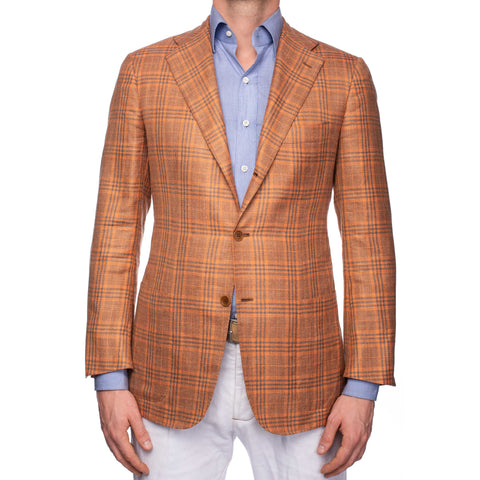 KITON Napoli Handmade Orange Plaid Cashmere-Silk-Linen Jacket EU 48 US 38