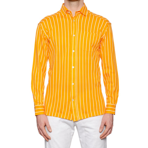 KITON Napoli Handmade Orange Striped Cotton Pique Casual Shirt EU 52 NEW US L