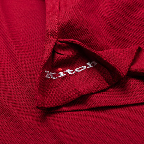 KITON Napoli Red Cotton Pique Crewneck Long Sleeve T Shirt NEW