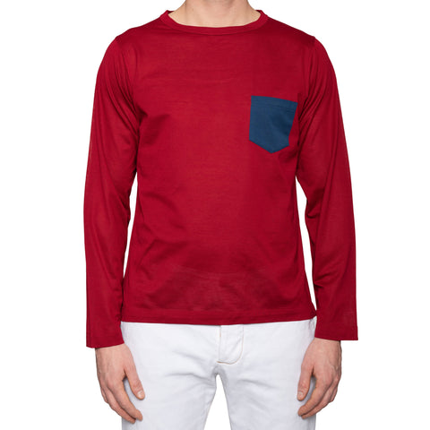 KITON Napoli Red Cotton Pique Long Sleeve Pocket T Shirt EU 50 NEW US M