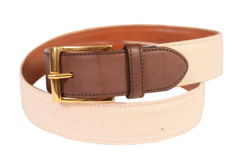 KITON Napoli Handmade White-Brown Canvas-Leather Casual Belt NEW With Box - SARTORIALE - 1