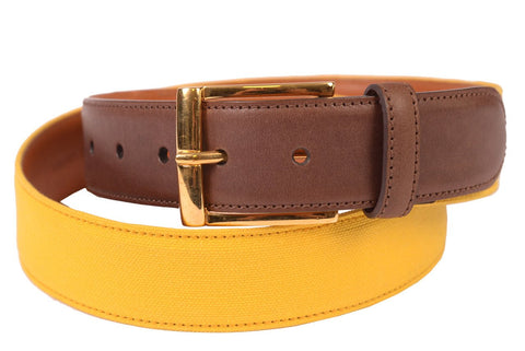 KITON Napoli Handmade Yellow Calf Leather-Canvas Casual Belt NEW With Box - SARTORIALE - 1