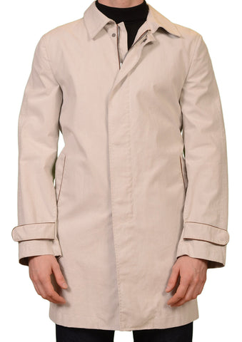 KITON Napoli Light Gray Cotton Coat with Leather Elbow Patch EU 50 NEW US 40