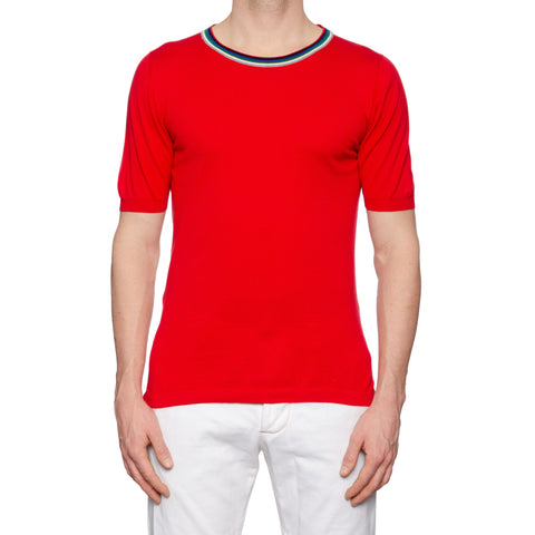 KITON Napoli Red Cotton Crewneck Short Sleeve T-Shirt EU 50 NEW US M