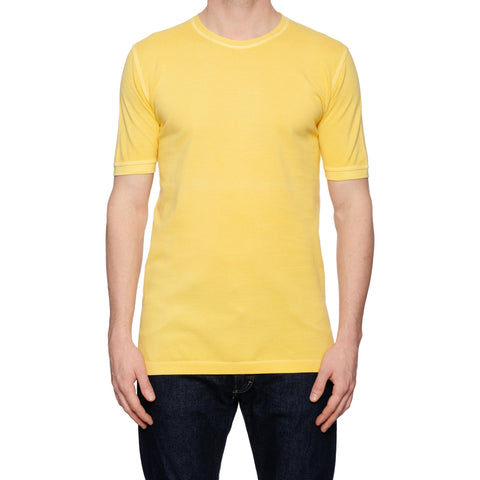 KITON Napoli Yellow Cotton Pique Crewneck Short Sleeve T-Shirt EU 50 NEW US M