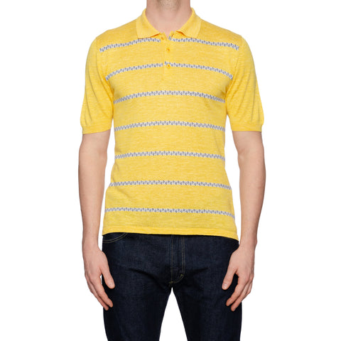KITON Napoli Yellow Striped Silk-Linen Short Sleeve Polo Shirt EU 50 NEW US M