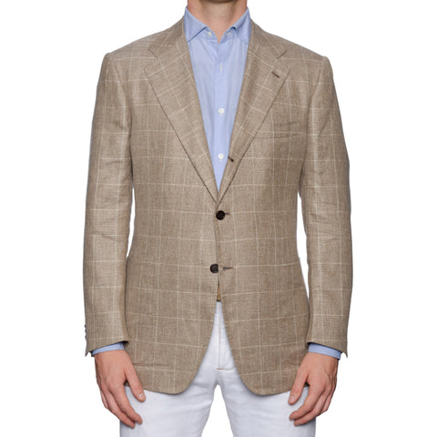 KITON for M. BARDELLI Handmade Beige Plaid Linen-Cashmere Jacket 50 NEW US 40