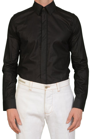 KRIS VAN ASSCHE Black Cotton Dress Shirt EU 46 NEW US XS