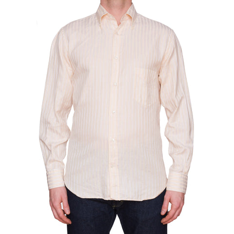 LORO PIANA Cream Striped Cotton-Linen Button-Down Shirt EU 42 US 16.5 Slim