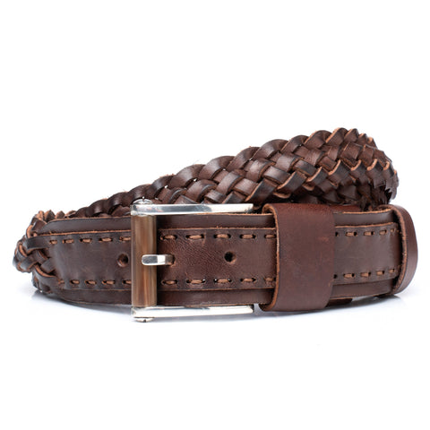 "OLD HIDE ROMANELLI Firenze Brown Silver-Horn Buckle Braided Belt 90cm 36"" NEW"