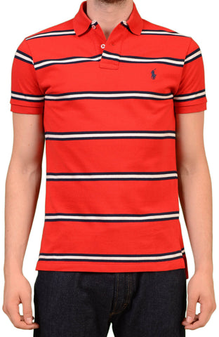 POLO By RALPH LAUREN Red Striped Cotton Polo Shirt EU 48 NEW US S Custom Fit - SARTORIALE - 1