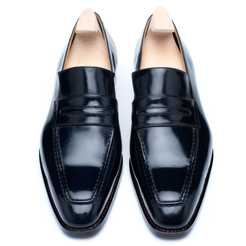 "PASSUS SHOES ""Anthony"" Navy Blue Box Calf Leather Loafers"