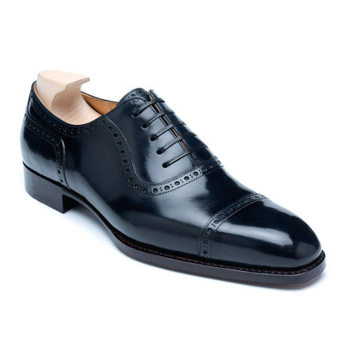 "PASSUS SHOES ""Henry"" Handmade Navy Blue Oxford Shoes"