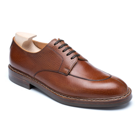 "PASSUS SHOES ""Jonathan"" Handmade Cognac Hatch Grain Split-Toe Derby Shoes"