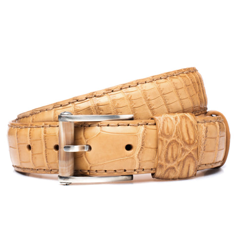 "ROMANELLI Firenze Tan Croco Alligator Silver-Horn Buckle Belt 90cm 36"" NEW with Bag"