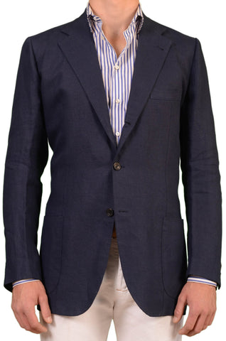 RUBINACCI LH London House Bespoke Blue Linen Jacket EU 52 L NEW US 40 42 Long - SARTORIALE - 1