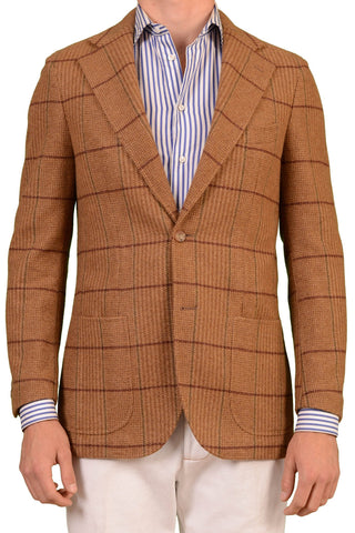 RUBINACCI Napoli Brown Windowpane Cashmere Blazer Jacket Soft - SARTORIALE - 1
