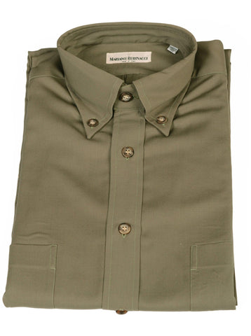 RUBINACCI Napoli Solid Army Green Cotton Button-Down Casual Shirt NEW Classic - SARTORIALE - 1