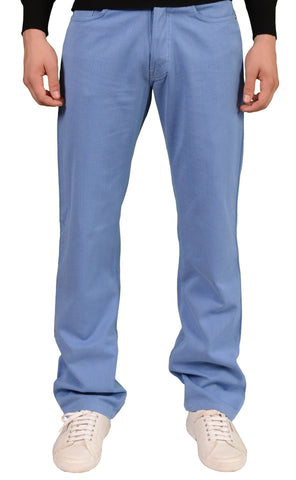 RUBINACCI Napoli Solid Blue Cotton Jeans Pants Straight NEW Classic Fit - SARTORIALE - 1