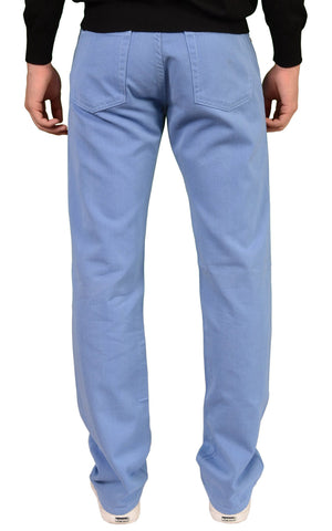 RUBINACCI Napoli Solid Blue Cotton Jeans Pants Straight NEW Classic Fit - SARTORIALE - 2