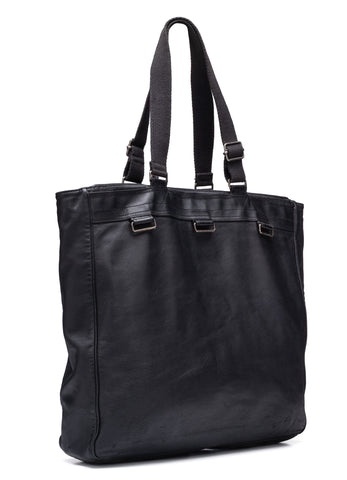 "Rare DIOR Homme Hedi Slimane SS07 ""Deville"" Black Leather Tote Bag"