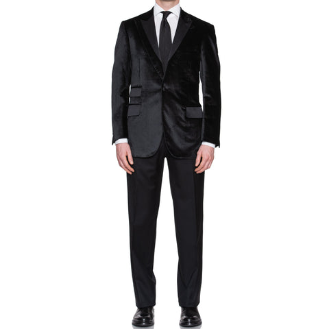 SARTORIA CASTANGIA Black Velvet Silk Lined Tuxedo Suit EU 50 NEW US 40