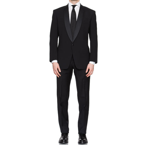 SARTORIA CASTANGIA Black Wool Shawl Collar Tuxedo Suit EU 48 NEW US 38
