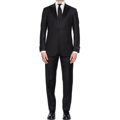 SARTORIA CASTANGIA Black Wool Super 130's 1 Button Peak Lapel Tuxedo Suit NEW