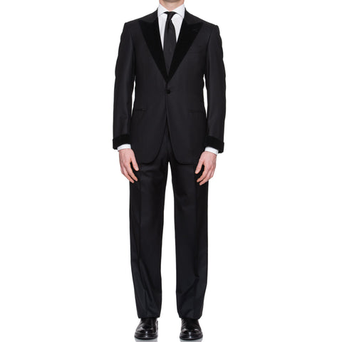 SARTORIA CASTANGIA Black Wool Super 130's Tuxedo Suit EU 48 NEW US 38