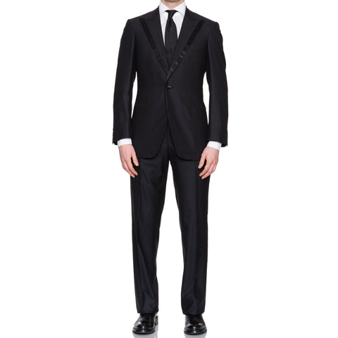 SARTORIA CASTANGIA Black Wool Super 180's Tuxedo Suit EU 48 NEW US 38