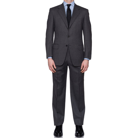 SARTORIA CASTANGIA Gray Herringbone Merino Wool Super 120's Suit 48 NEW 38