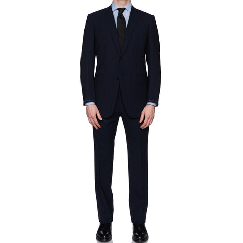 SARTORIA CASTANGIA Navy Blue Striped Wool Super 110's Suit 50 NEW US 40
