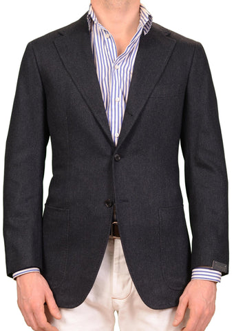 SARTORIO by KITON Blue Herringbone Wool Cotton Cashmere Flannel Jacket 50 NEW 40