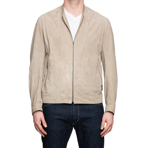 SERAPHIN Beige Suede Lamb Leather Bomber Blouson Jacket FR 48 US S M