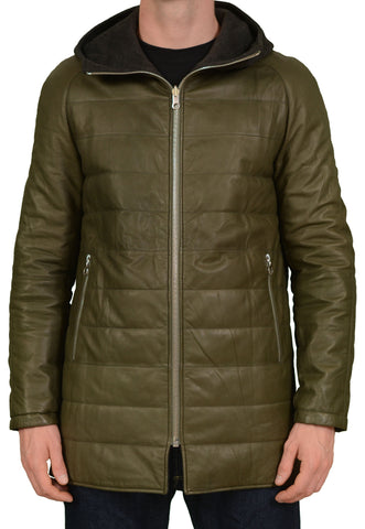 SERAPHIN Green-Gray Leather-Cashmere Reversible Jacket Parka FR 50 NEW US M