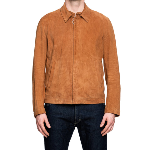 SERAPHIN Rust Brown Suede Goat Leather Cafe Racer Blouson Jacket FR 50 US M