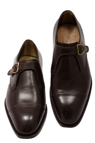 SILVANO LATTANZI 1062 Handmade Brown Single Monk-Strap Dress Shoes NEW 8.5