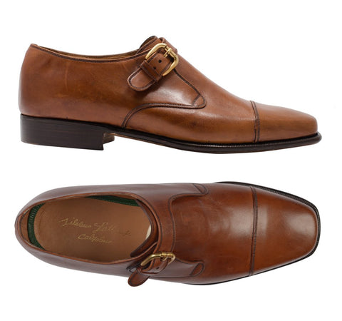 SILVANO LATTANZI 2016 Handmade Chestnut Monk-Strap Dress Shoes NEW 8.5