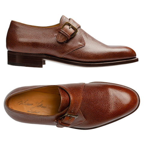SILVANO LATTANZI Brown Leather Scotchgrain Single Monk Dress Shoes NEW US 8.5