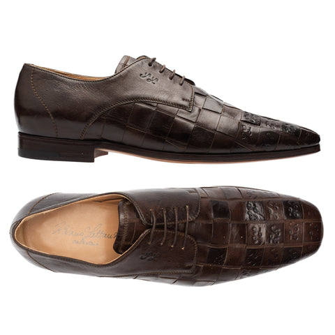 SILVANO LATTANZI Brown SL Signature 4 Eyelet Derby Dress Shoes NEW US 8.5