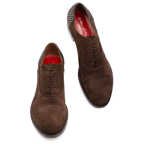 SILVANO LATTANZI Brown Suede 5 Eyelet Studded Oxford Shoes NEW US 10