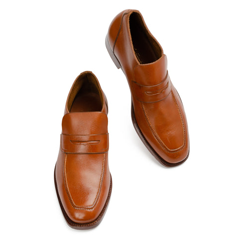 SILVANO LATTANZI Cognac Leather Unlined Penny Loafers Boots Shoes NEW US 8