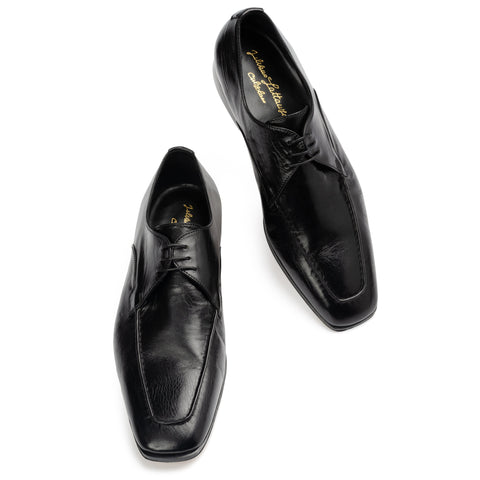 "SILVANO LATTANZI ""Eros"" Handmade Black Leather Moc Toe Derby Dress Shoes NEW 8.5"