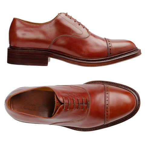 SILVANO LATTANZI Handmade Cognac Leather Cap Toe Oxford Shoes NEW US 9