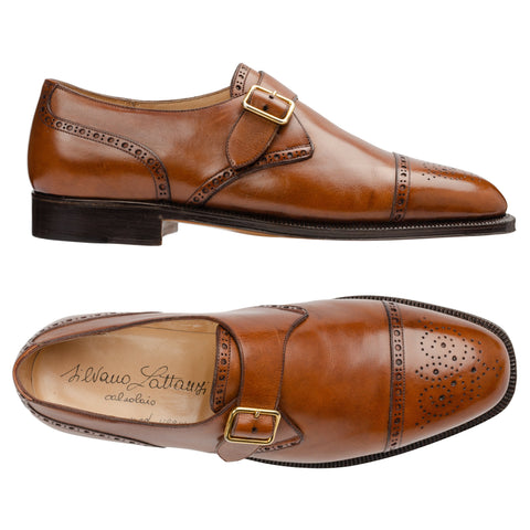 SILVANO LATTANZI Handmade Brown Leather Single Monk Cap Toe Shoes NEW US 8