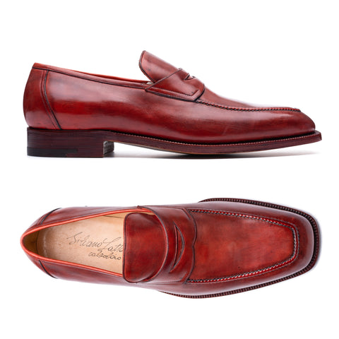 SILVANO LATTANZI Handmade Burgundy Leather Penny Loafer Shoes NEW US 9